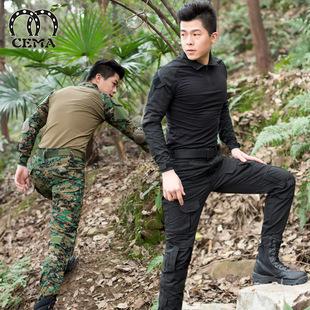 蟒纹迷彩服套装男士战术蛙服耐磨军装特种兵t恤修身cs作战服作训