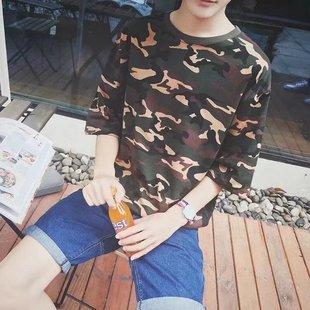 夏装短袖T恤男韩版修身迷彩印花半袖t纯棉5五分中袖宽松七分袖潮