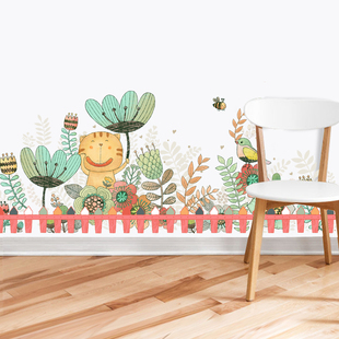 幼儿园走廊墙角装饰植物地脚腰线贴画卡通儿童房墙壁踢脚线墙贴纸