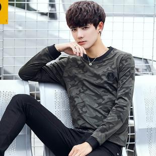 2017秋季新款男士长袖T恤青少年韩版帅气薄款卫衣迷彩外穿秋衣潮