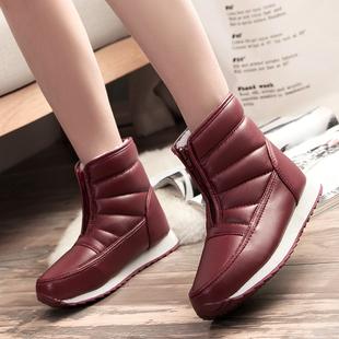 冬季妈妈鞋中老年雪地靴女防滑男短靴防水保暖短筒平底棉鞋老人靴