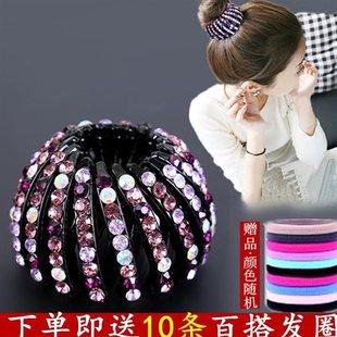 日韩国鸟巢盘发器水钻丸子头发圈发夹抓夹马尾扣头饰镶钻简约饰品