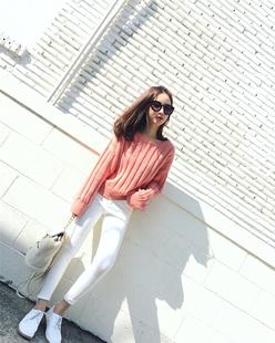 钱夫人CHINSTUDIO秋季新款韩版纯色圆领毛衣女套头学生宽松上衣潮