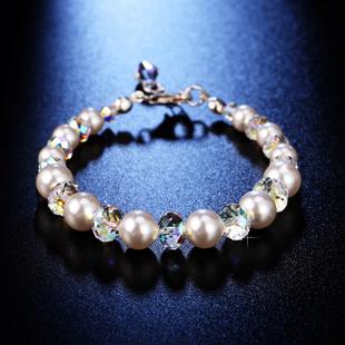 中秋礼物采用施华洛世奇元素水晶珍珠手链手串女韩版简约镯大方闪