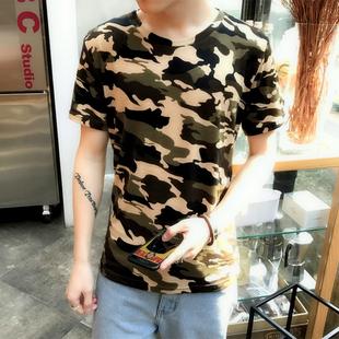 夏季青少年迷彩短袖T恤男潮学生特种兵衣服紧身军装韩版潮流军迷