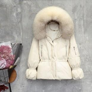 2018冬季新款韩版大毛领羽绒服女短款宽松收腰显瘦白鸭绒小外套潮