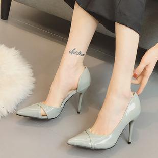 欧美风浅口漆皮侧空尖头性感显瘦细跟高跟鞋百搭气质职业OL单鞋女