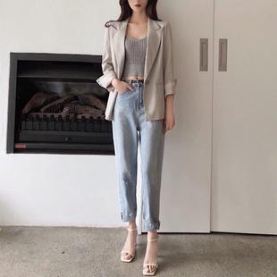 珊珊 2019春装季新款百搭韩版小脚裤子显瘦学生宽松牛仔裤女