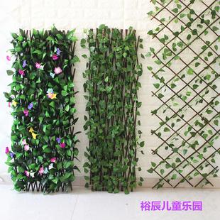 田园装饰栅栏围栏可伸缩拉伸篱笆拉网仿真藤条花朵实木吊顶植物