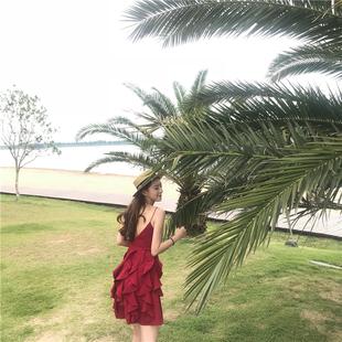 巴厘岛度假沙滩裙女2018新款泰国性感露背吊带裙普吉岛红色连衣裙