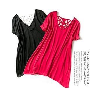 夏款女韩版宽松  显瘦百搭款套头 V领T恤镂空拼接中长款上衣1E23