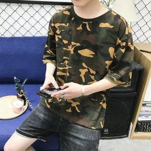 夏季男士五分短袖t恤男迷彩韩版宽松学生5分衣服7分中袖潮流上衣