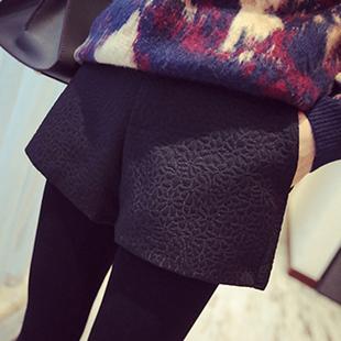 2017新款韓版冬季短褲女外穿百搭顯瘦修身秋冬款高腰寬松闊腿褲潮