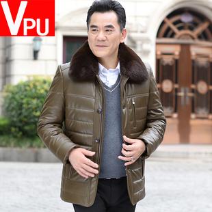 2019新款冬季中年PU皮棉衣中老年人加厚棉服爸爸装棉袄外套男冬装