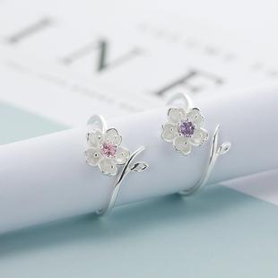 925纯银戒指樱花可爱韩国甜美花朵可爱开口食指女款指环情人节