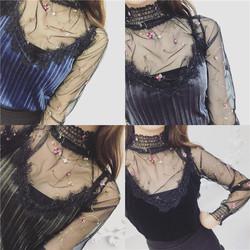 2017春装新款韩版精致女人味款刺绣欧根纱网纱+吊带两件套上衣潮
