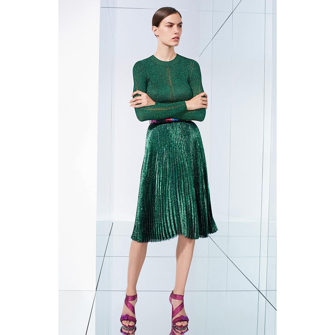 X 焦点! 摩登金属亮泽 超轻感 优雅高腰百褶裙半身裙