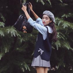 2017爱爱丸春季新款女装甜美蝴蝶结系带藏青色套头针织无袖背心女