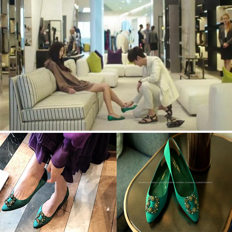 绿色平底鞋 蓝色大海的传说同款绿色水钻绸缎MB平底鞋方扣单鞋尖头女鞋子_推荐淘宝好看的绿色平底鞋