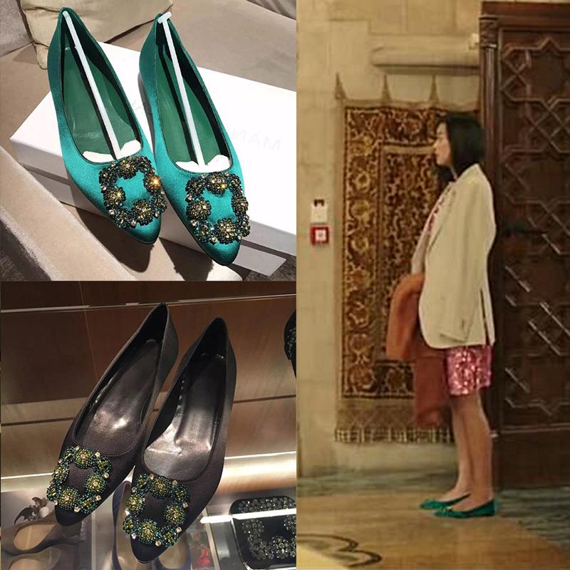 绿色平底鞋 蓝色大海的传说同款水钻方扣绿色平底鞋尖头浅口单鞋真皮大码女鞋_推荐淘宝好看的绿色平底鞋