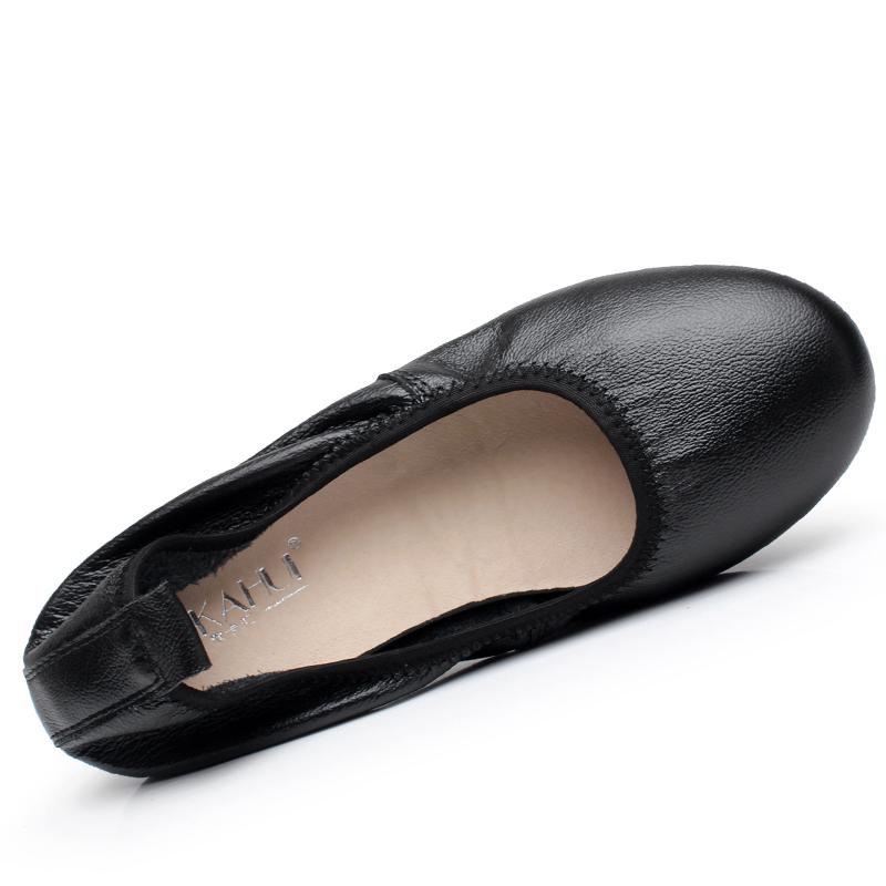 真皮平底鞋 万达真皮工作鞋黑色职业软底单鞋平底防滑女工装正装通勤空姐皮鞋_推荐淘宝好看的女真皮平底鞋