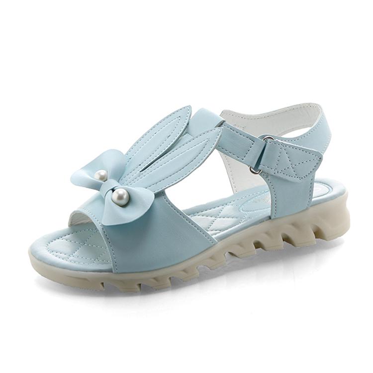 粉红色凉鞋 夏天女孩子初中小学生蓝色大童鞋可爱粉红色小兔耳朵少女公主凉鞋_推荐淘宝好看的粉红色凉鞋