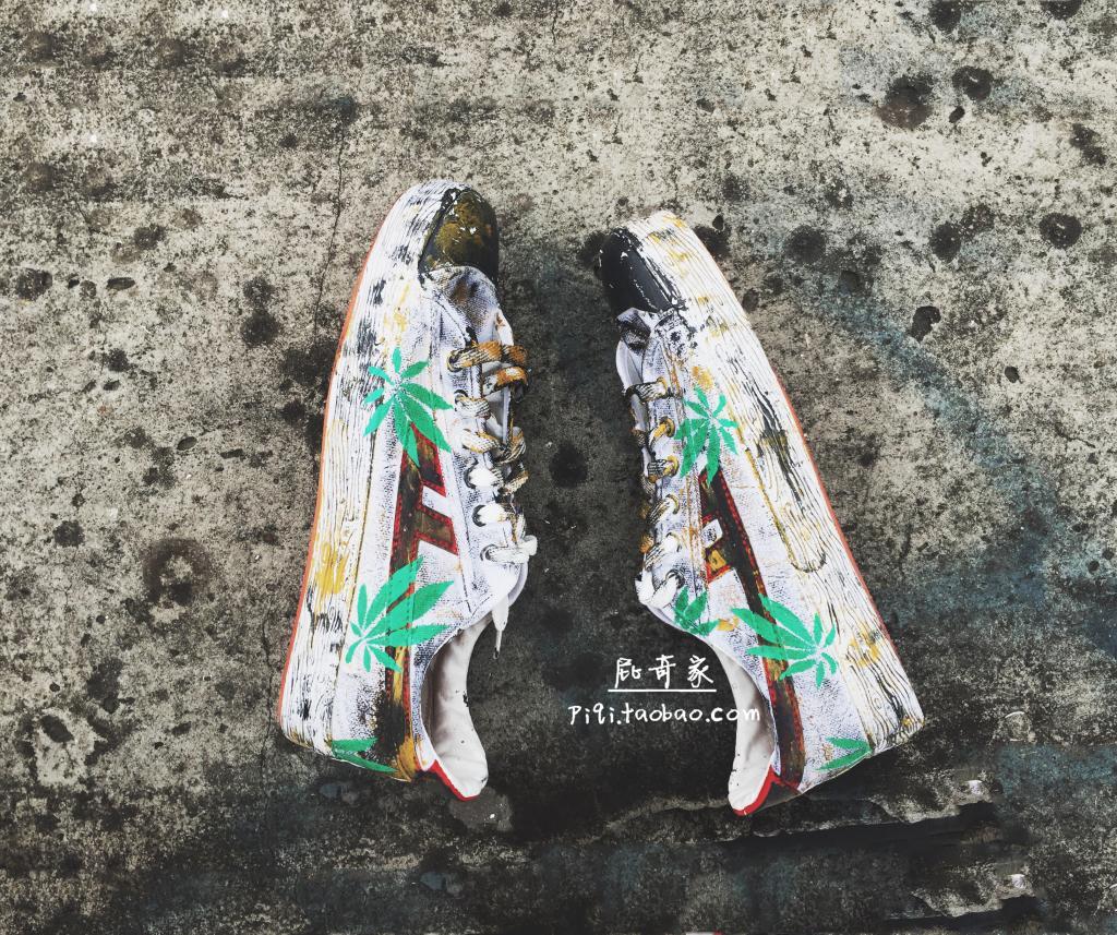 手绘帆布鞋 经典做旧复古帆布鞋手绘绿色麻叶芭蕉叶低帮系带鞋板鞋情侣男女鞋_推荐淘宝好看的女手绘帆布鞋