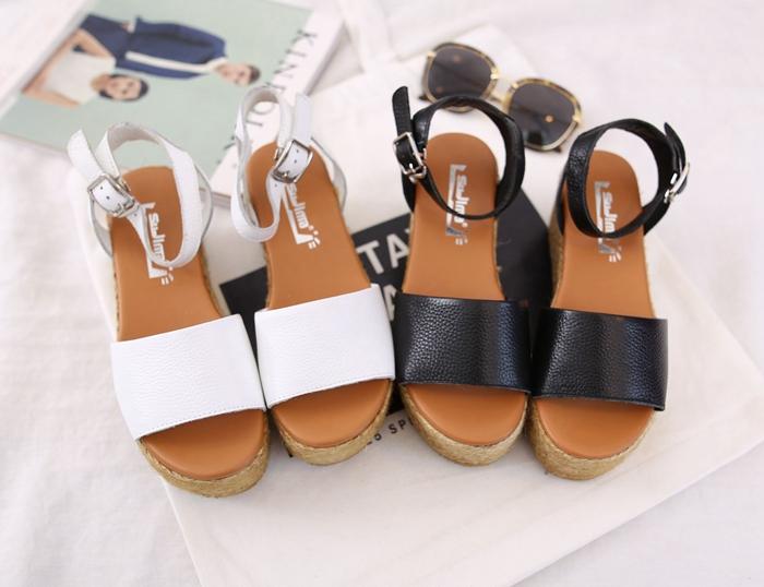 坡跟凉鞋 特价处理 一字扣露趾坡跟防水台厚底高跟牛P女凉鞋 NK1 520_推荐淘宝好看的女坡跟凉鞋