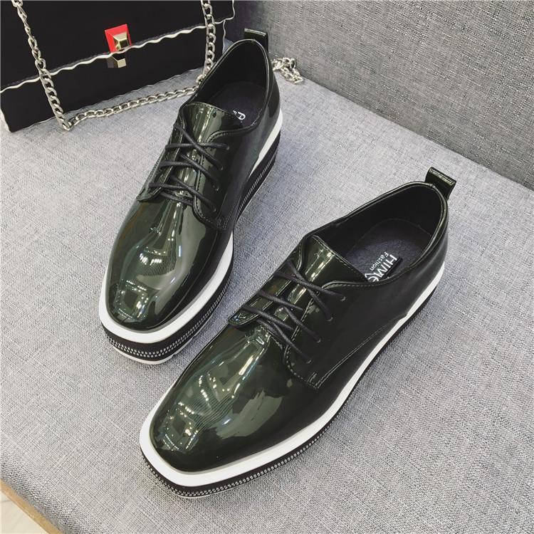 绿色松糕鞋 17春季新款漆皮松糕单鞋英伦复古方头黑色墨绿色坡跟系带厚底女鞋_推荐淘宝好看的绿色松糕鞋