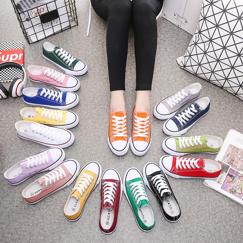 紫色帆布鞋 韩版情侣彩色女帆布鞋糖果色橘色粉色黄色绿色紫色系带女学生布鞋_推荐淘宝好看的紫色帆布鞋