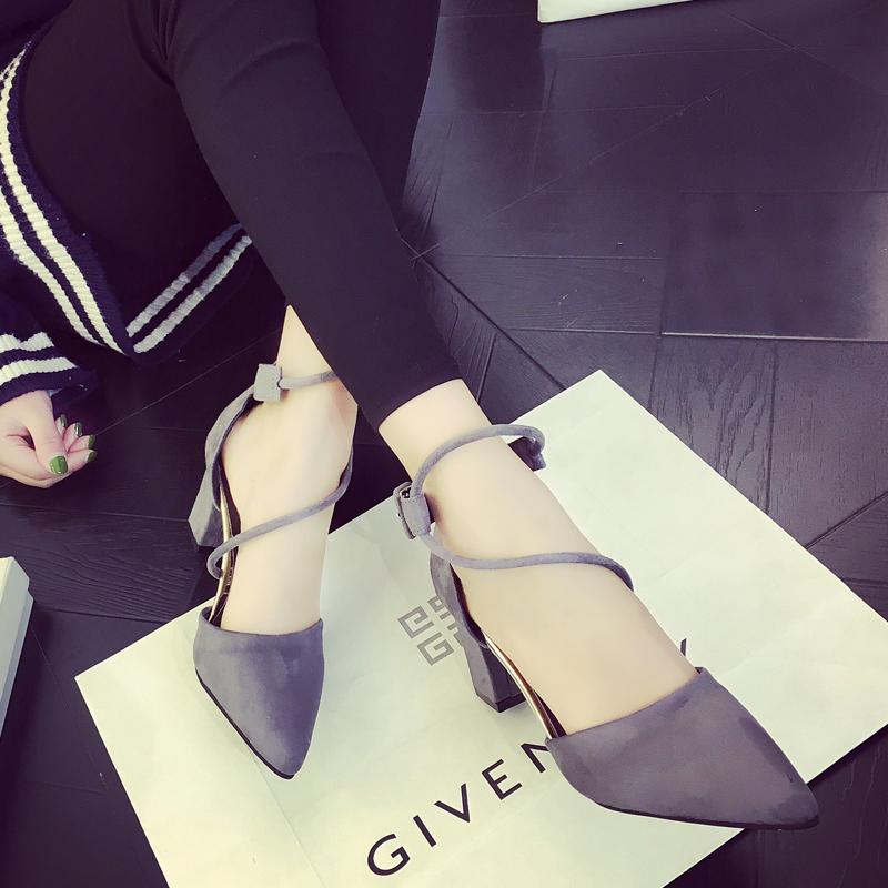黑色凉鞋 2017夏季新款中空单鞋女士黑色高跟鞋粗跟尖头绑带浅口百搭凉鞋女_推荐淘宝好看的黑色凉鞋