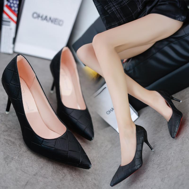 黑色高跟鞋 2016夏季新款女鞋子尖头单鞋中跟女士皮鞋黑色高跟鞋细跟优雅职业_推荐淘宝好看的黑色高跟鞋