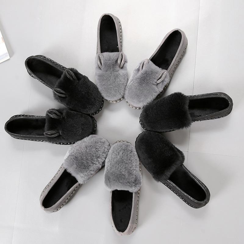 单鞋 秋冬韩版獭兔毛棉瓢鞋加绒厚底毛毛鞋豆豆鞋女单鞋老北京兔耳朵鞋_推荐淘宝好看的女单鞋