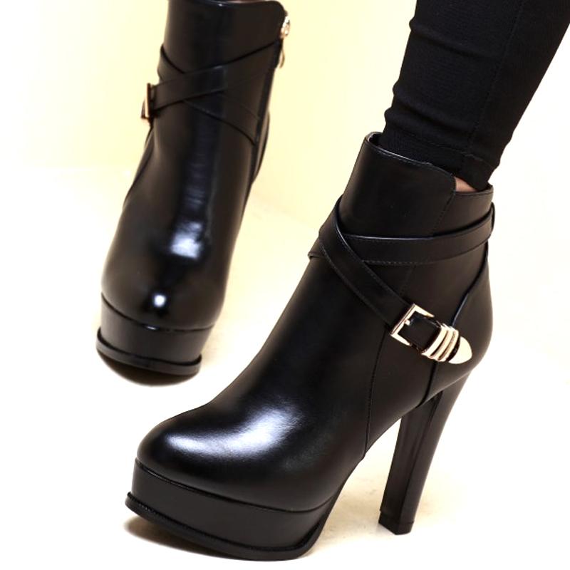 时尚高跟鞋 2016新款冬季高跟鞋粗跟防水台加棉厚底时尚性感潮流女鞋黑色加棉_推荐淘宝好看的女时尚高跟鞋