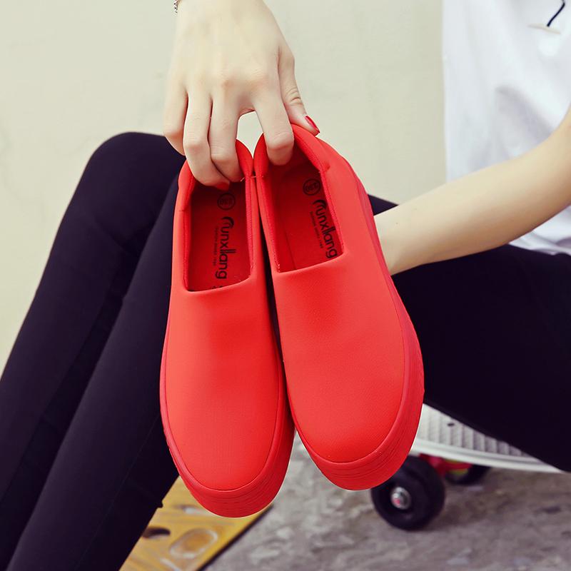 红色帆布鞋 2016春秋新款韩版休闲鞋帆布鞋女弹力懒人一脚蹬女鞋大红色懒人鞋_推荐淘宝好看的红色帆布鞋