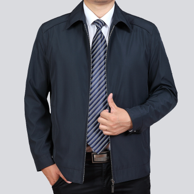 外套夹克 包邮中年男装休闲外套薄款中老年人男士夹克衫翻领爸爸装春秋季装_推荐淘宝好看的男外套夹克