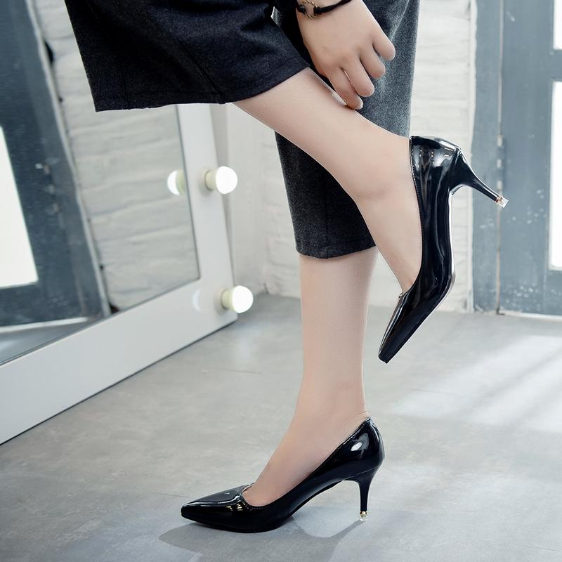 黑色尖头鞋 2017春秋季新款10cm黑色高跟鞋细跟尖头鞋百搭单鞋女职业工作女鞋_推荐淘宝好看的黑色尖头鞋