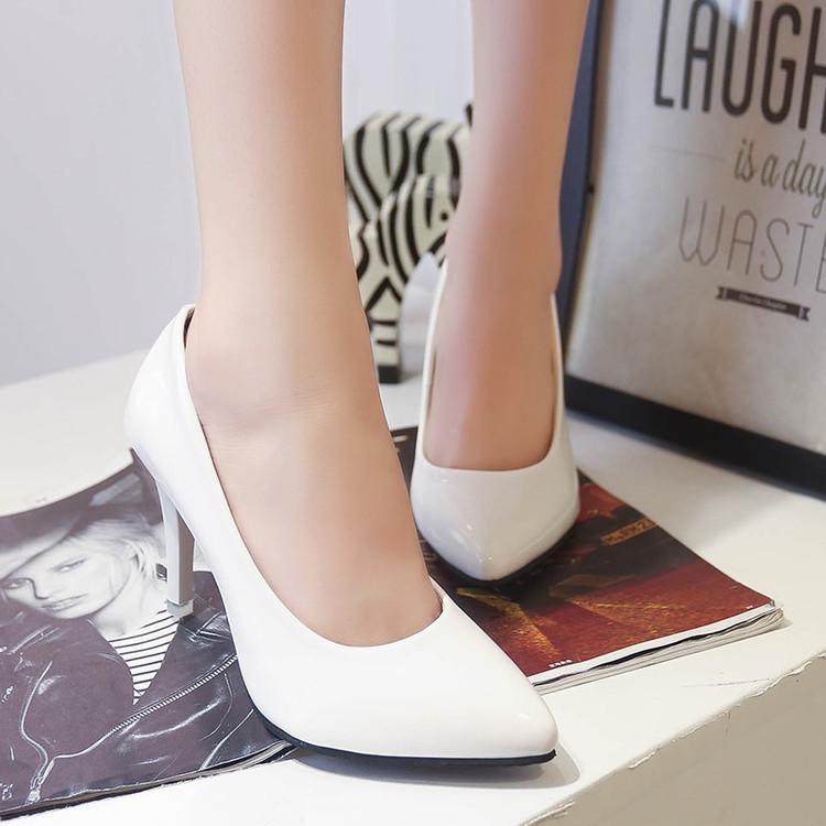 白色高跟单鞋 新款春秋百搭单鞋女职业黑白色工作高跟中跟工装亮皮女士皮鞋子_推荐淘宝好看的女白色高跟单鞋