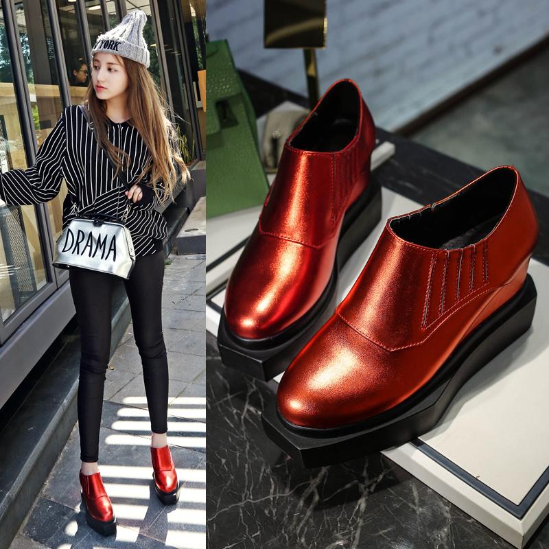 红色松糕鞋 欧美松糕底套脚深口方头女鞋小码33坡跟厚底大码高跟单鞋红色黑色_推荐淘宝好看的红色松糕鞋