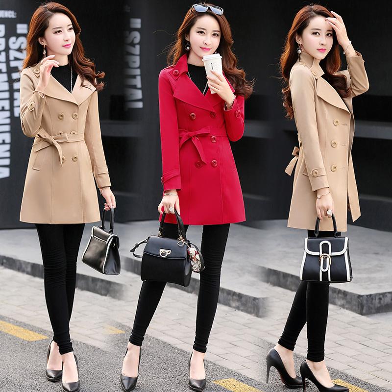 红色风衣 妈妈穿的衣服30到40至50岁女显年轻中年外套风衣漂亮女人品牌女装_推荐淘宝好看的红色风衣