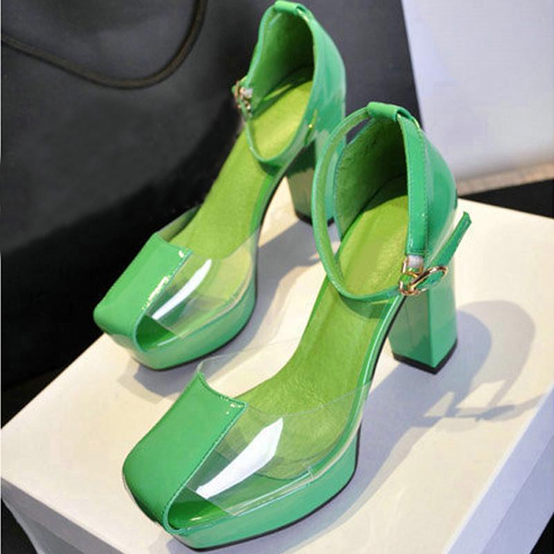 绿色凉鞋 欧美春秋单根粗跟单鞋女凉鞋防水台包头高跟鞋真皮透明水晶鞋绿色_推荐淘宝好看的绿色凉鞋
