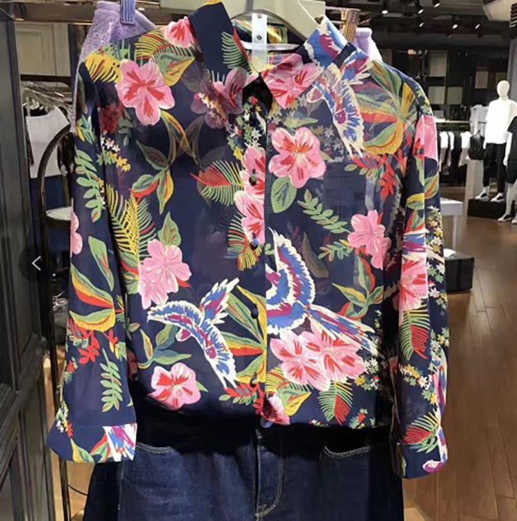 欧时力女装 五欧时力加慕专柜品质2017新女夏印花七分袖薄雪纺衬衫1JY2010040_推荐淘宝好看的欧时力