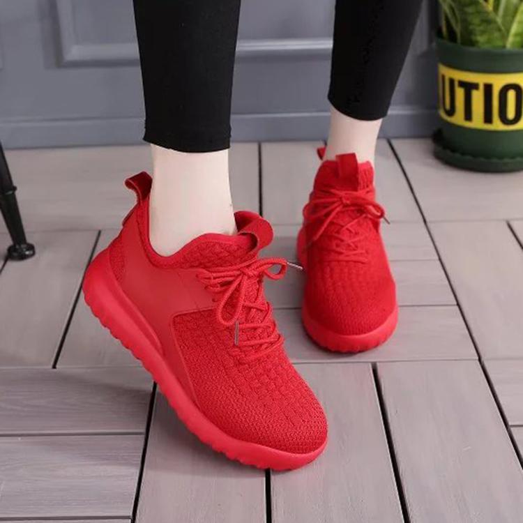 红色松糕鞋 2016秋季新款弹力针织红色平底厚底运动鞋女系带松糕底休闲跑步鞋_推荐淘宝好看的红色松糕鞋