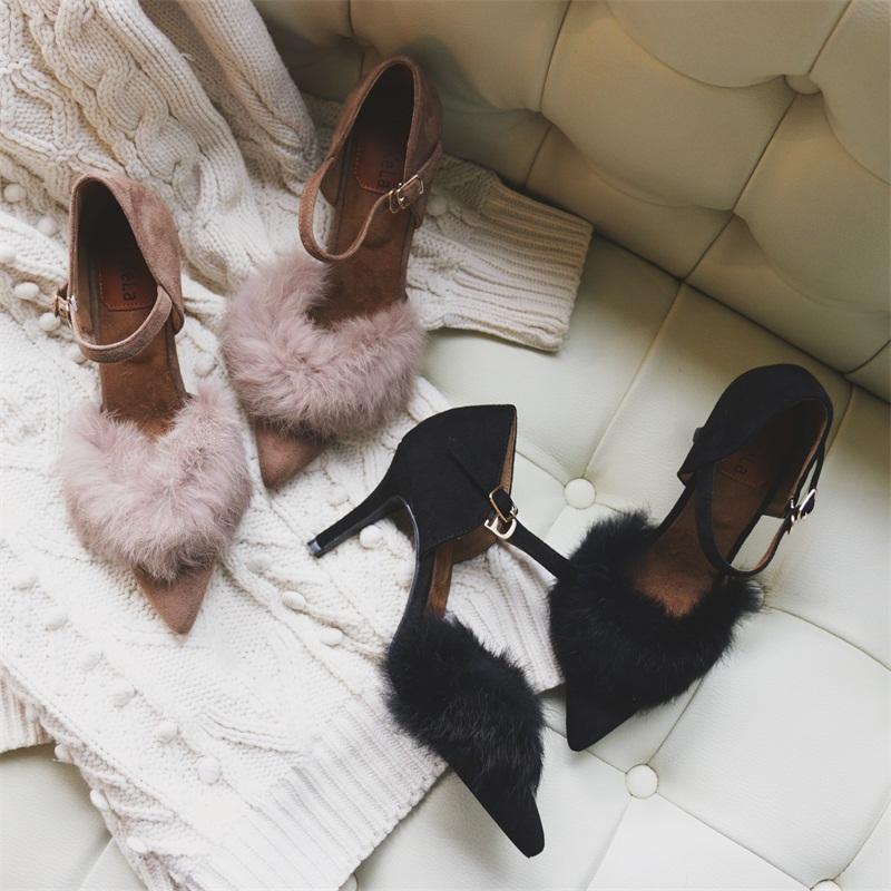 尖头高跟鞋 秋冬潮中跟高跟鞋一字扣带低跟尖头浅口细跟镂空兔毛单鞋女毛毛鞋_推荐淘宝好看的女尖头高跟鞋