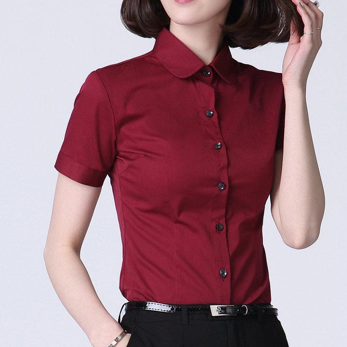 女士短袖衬衣 酒红色衬衫女短袖加肥加大码紧身显瘦衬衣气质淑女寸衫纯棉工作服_推荐淘宝好看的女短袖衬衣