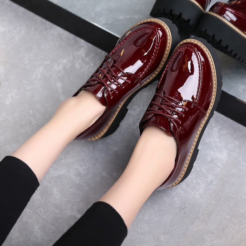 黑色松糕鞋 春季青年女皮鞋 松糕跟厚底鞋 黑色酒红色漆皮单鞋 34小码中跟5cm_推荐淘宝好看的黑色松糕鞋