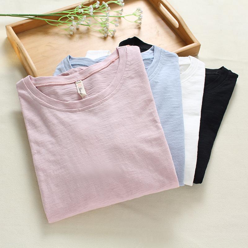 粉红色T恤 秋季女装白色宽松上衣秋衣女 学生纯色外穿打底衫竹节棉长袖t恤女_推荐淘宝好看的粉红色T恤