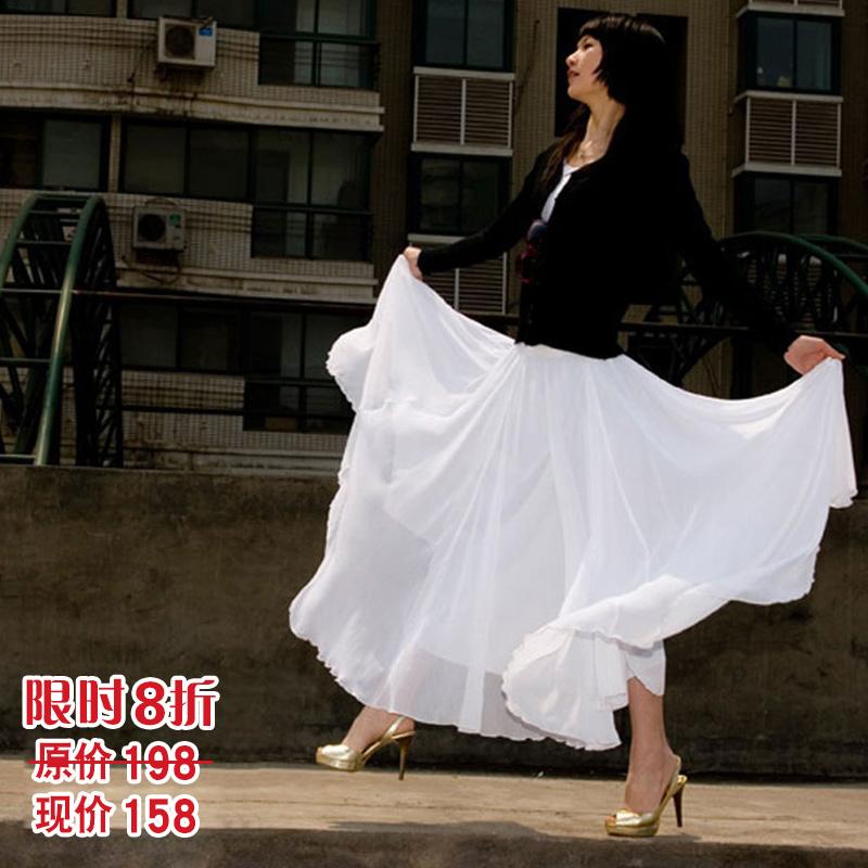 波西米亚半身裙 高档波西米亚女半身长裙 雪纺白色夏高腰8米大摆裙a字裙 大码百褶_推荐淘宝好看的波西米亚半身裙