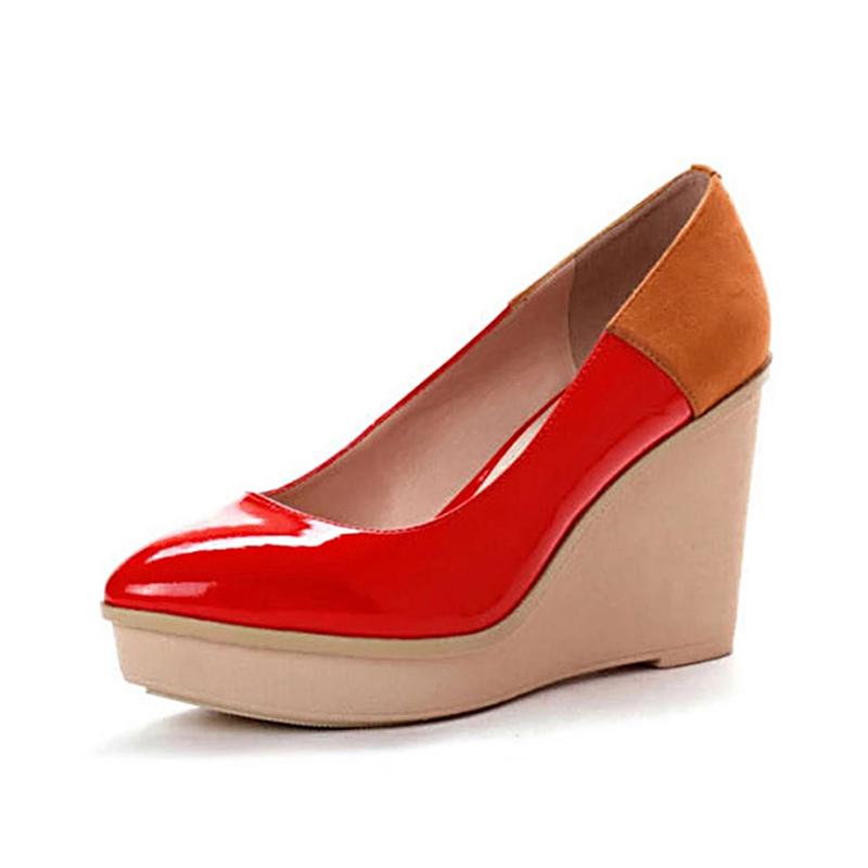 达芙妮坡跟鞋 Daphne达芙妮秋款时尚镜面拼色坡跟浅口单鞋1013101034_推荐淘宝好看的达芙妮坡跟鞋