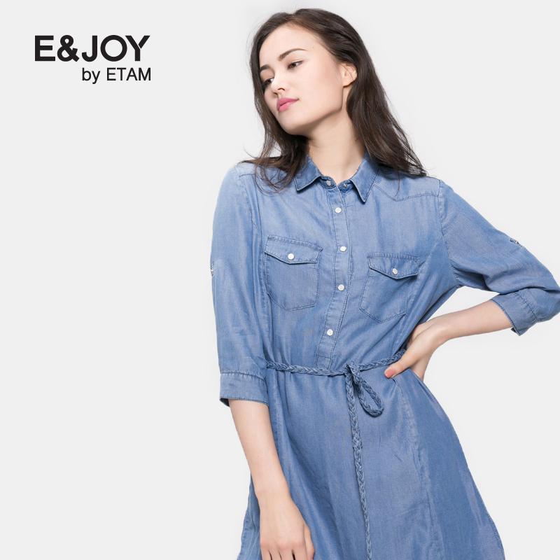 艾格连衣裙 Etam艾格 E&joy 2016秋新品翻领系带中袖牛仔连衣裙16082208548_推荐淘宝好看的艾格连衣裙